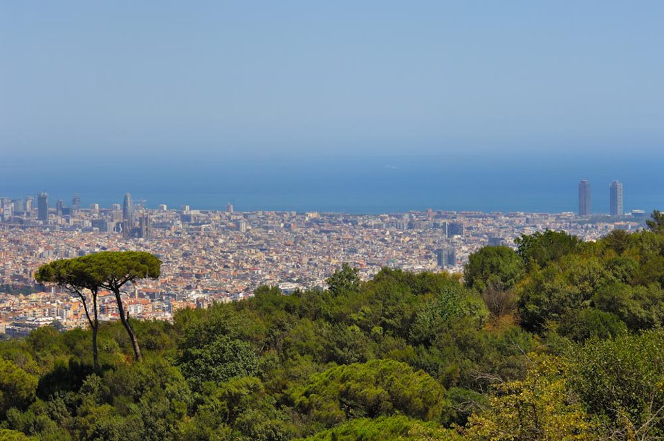 The Collserola Natural Park overlooking the city of Barcelona. The park spreads across a total of 11.000 ha and is shared by 9 metropolitan municipalities.