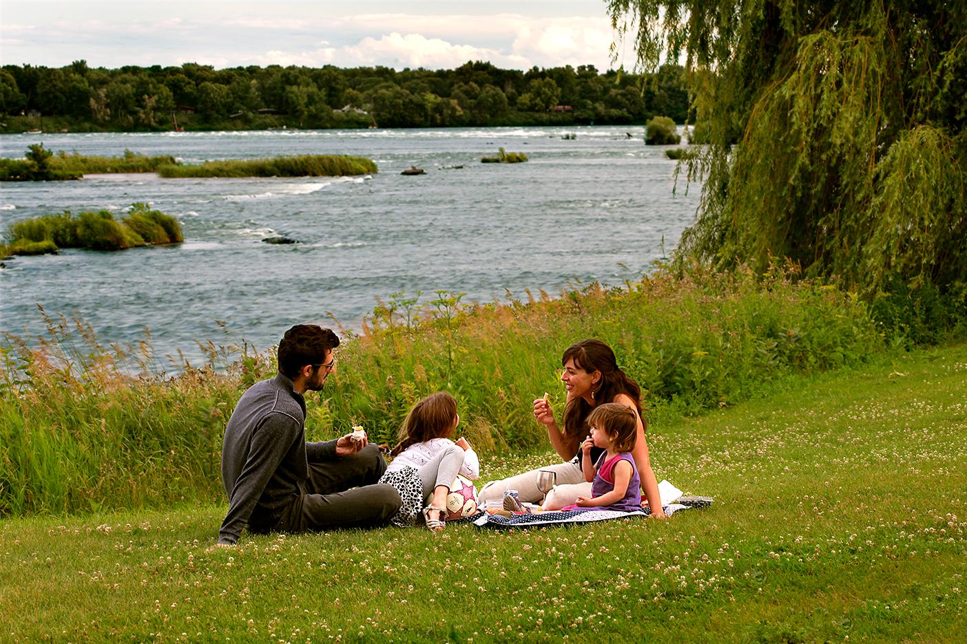 Family picnic in Des Rapides Park (credit: Julie Durocher)