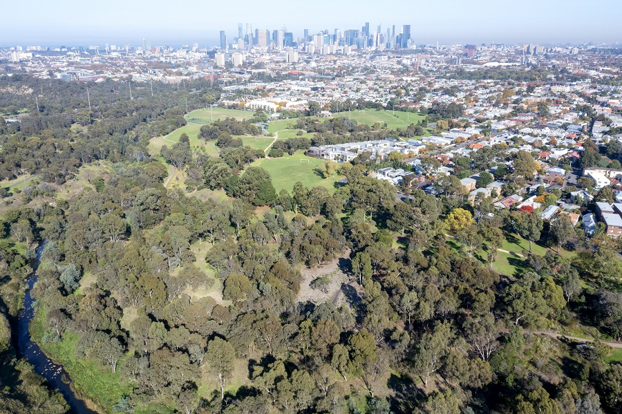 Aerial view from Halls Reserve, a large park in Clifton Hill adjacent to Merri Creek.
